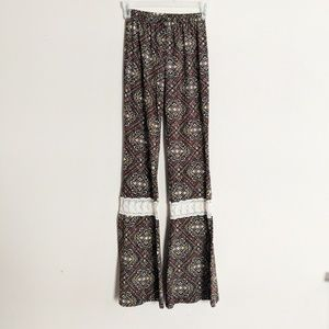 Sexy Hippy Stretch Bell Pants with Lace Detail